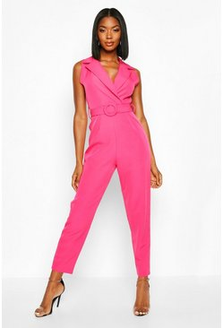 Magenta Belted Tailored Wide Leg Jumpsuit