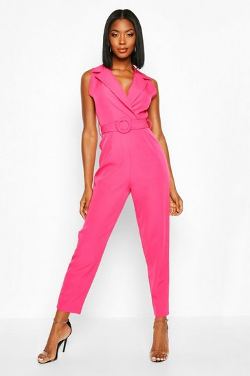 Womens Magenta Belted Tailored Wide Leg Jumpsuit