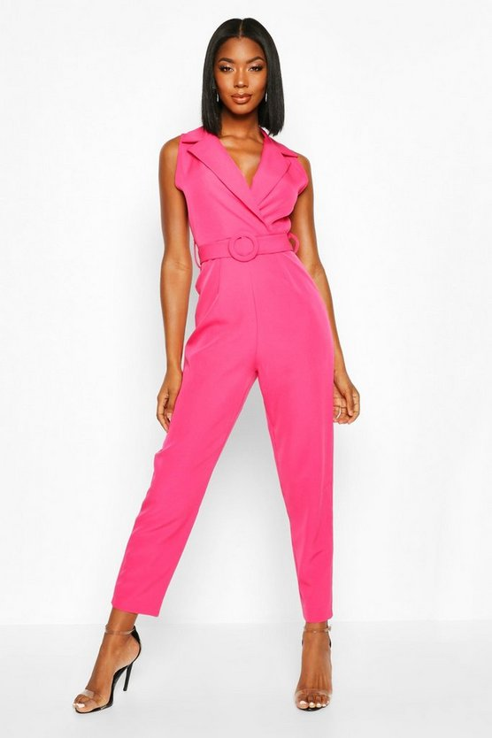 Belted Tailored Wide Leg Jumpsuit