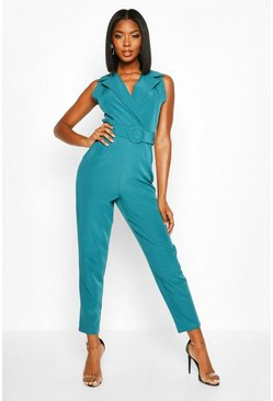 Womens Teal Belted Tailored Wide Leg Jumpsuit