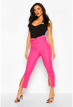 Magenta Paperbag Waist Belted Split Front Tailored Trousers