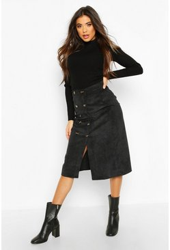 Button Front Baby Cord Midi Skirt, Black, Femme