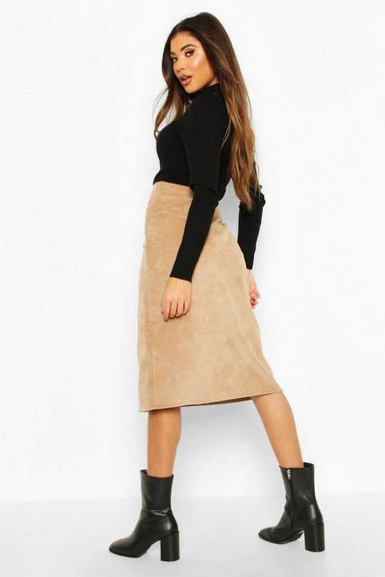 Button Front Baby Cord Midi Skirt