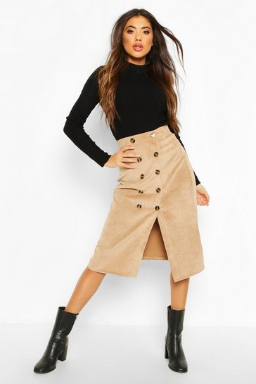 Womens Sand Button Front Baby Cord Midi Skirt