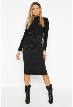 Self Fabric Belted Cord Midi Skirt, Black, DAMEN