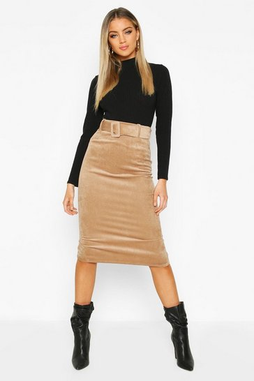 Womens Sand Self Fabric Belted Cord Midi Skirt