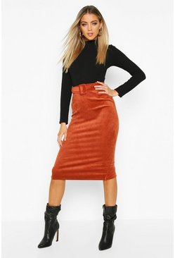 Womens Terracotta Self Fabric Belted Cord Midi Skirt