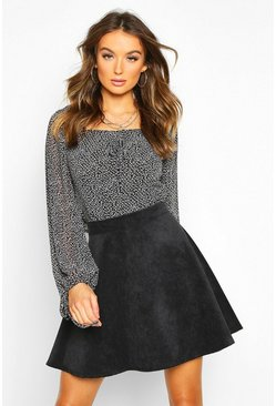 Womens Black Baby Cord Skater Skirt