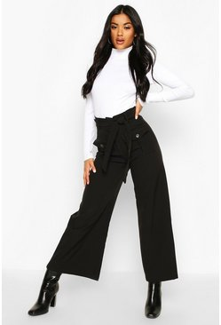 Pocket Front Belted Utility Wide Leg Trousers, Black, Donna