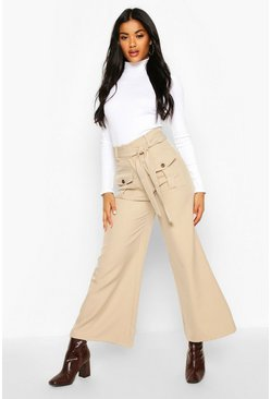 Womens Sand Pocket Front Belted Utility Wide Leg Trousers