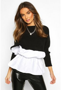 Black Knitted Drop Hem Shirt Jumper