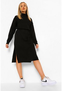 Womens Black Fine Gauge Roll Neck Midaxi Jumper Dress