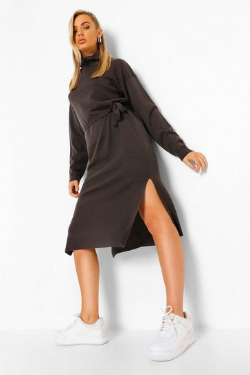 Womens Grey Fine Gauge Roll Neck Midaxi Jumper Dress