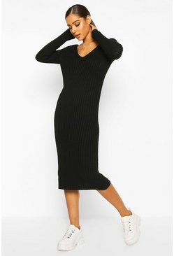 Womens Black V Neck Rib Knit Midaxi Dress