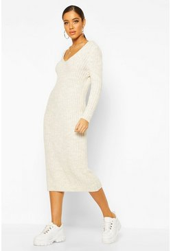 Womens Stone V Neck Rib Knit Midaxi Dress