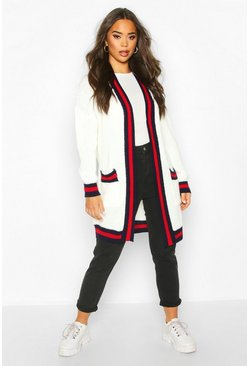 Contrast Stripe Midi Knitted Cardigan, Ivory, DAMEN