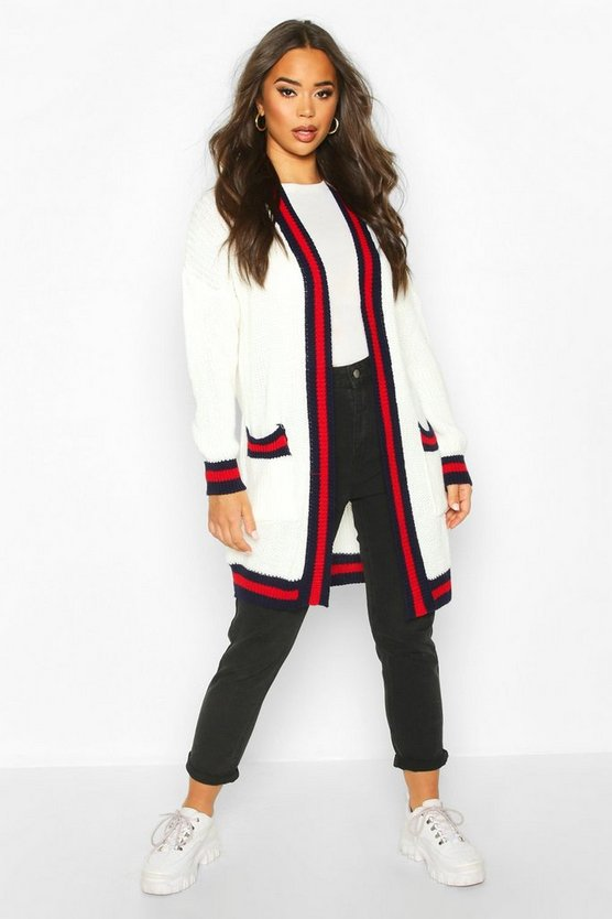 Contrast Stripe Midi Knitted Cardigan