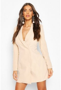 Pearl Tailored Blazer Dress, Nude