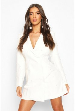 Pearl Tailored Blazer Dress, White, Donna