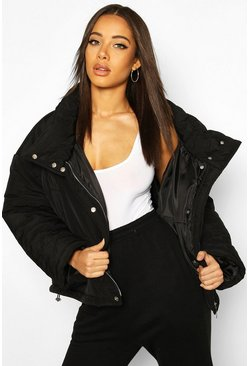 Oversized Puffer Jacket, Black