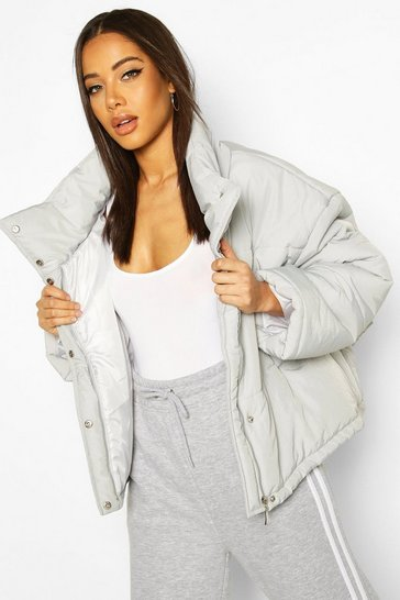 Grey Oversized Puffer Jacket