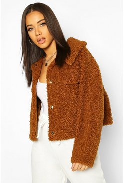 Brown Bonded Teddy Faux Fur Jacket