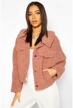 Rose Bonded Teddy Faux Fur Jacket