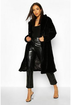 Faux Fur Maxi Coat, Black