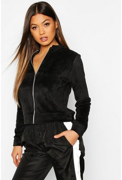 Fleece Zip Through Bomber Jacket, Black