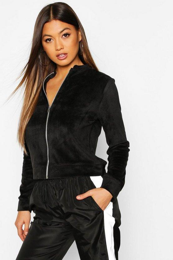 Fleece Zip Through Bomber Jacket