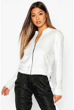 Womens Ivory Fleece Zip Through Bomber Jacket