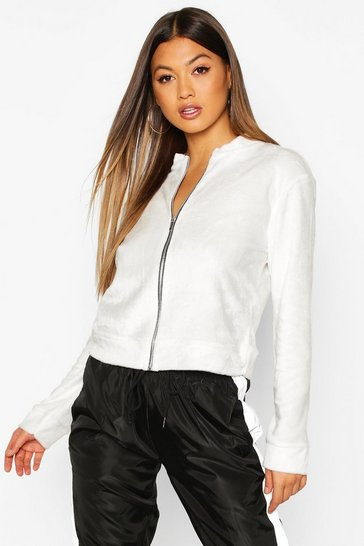 Ivory Fleece Zip Through Bomber Jacket