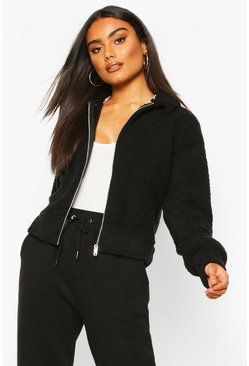 Teddy Faux Fur Zip Through Bomber Jacket, Black