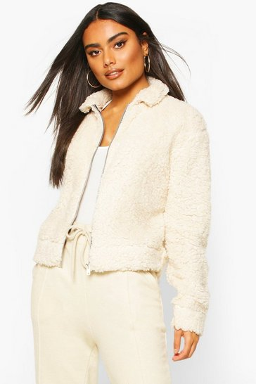 Womens Ivory Teddy Faux Fur Zip Through Bomber Jacket