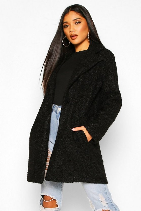 Black Teddy Textured Wool Look Coat