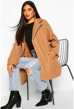 Camel Teddy Textured Wool Look Coat
