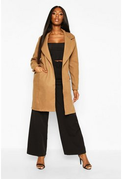 Stone Tie Waist Pocket Detail Wool Look Coat
