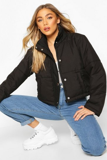 Womens Black Cropped Funnel Neck Puffer