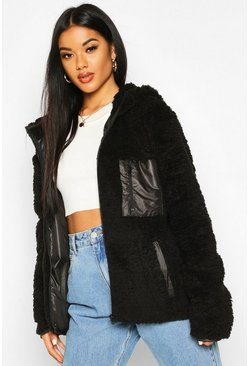 Womens Black Pocket Detail Faux Fur Teddy Jacket