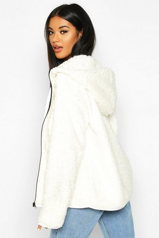 Pocket Detail Faux Fur Teddy Jacket