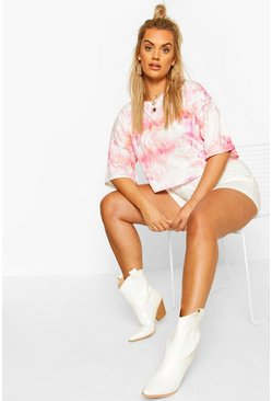 Womens White Plus Tie Dye Oversized Cropped T-Shirt
