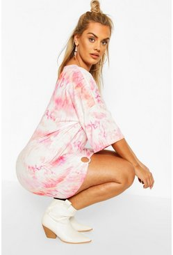 Plus Tie Dye Oversized O-ring T-shirt Dress, White