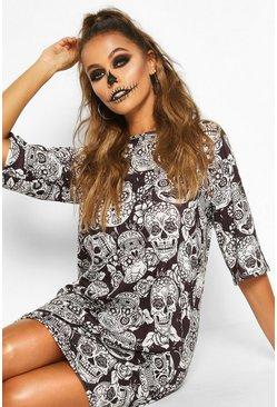 Womens Black Halloween Floral Skull T-Shirt Dress