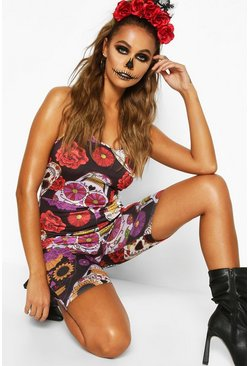 Womens Black Halloween Sugar Skull Strappy Unitard