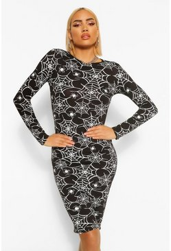 Womens Black Halloween Cobweb Print Long Sleeve Midi Dress