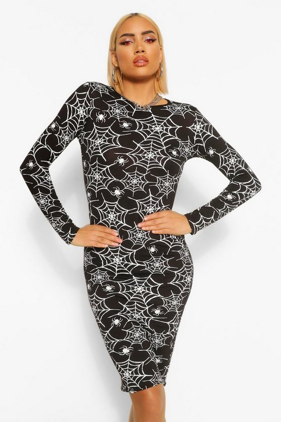 Halloween Cobweb Print Long Sleeve Midi Dress by Boohoo