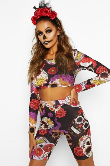 Womens Black Halloween Sugar Skull Crop And Short Co-ord