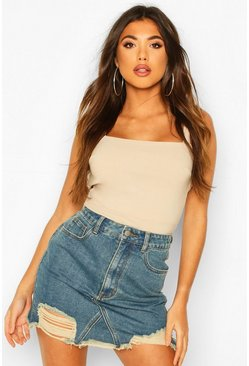 Vintage Wash Distressed Denim Mini Skirt, Mid blue