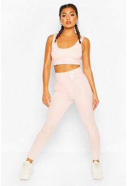 Fit Lace Up Waistband Gym Leggings, Pink