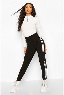 Black Cargo Pant With Side Stripe And Pocket